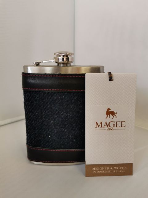 Magee Stainless Steel Hip Flask - Brown or Navy Tweed Surround